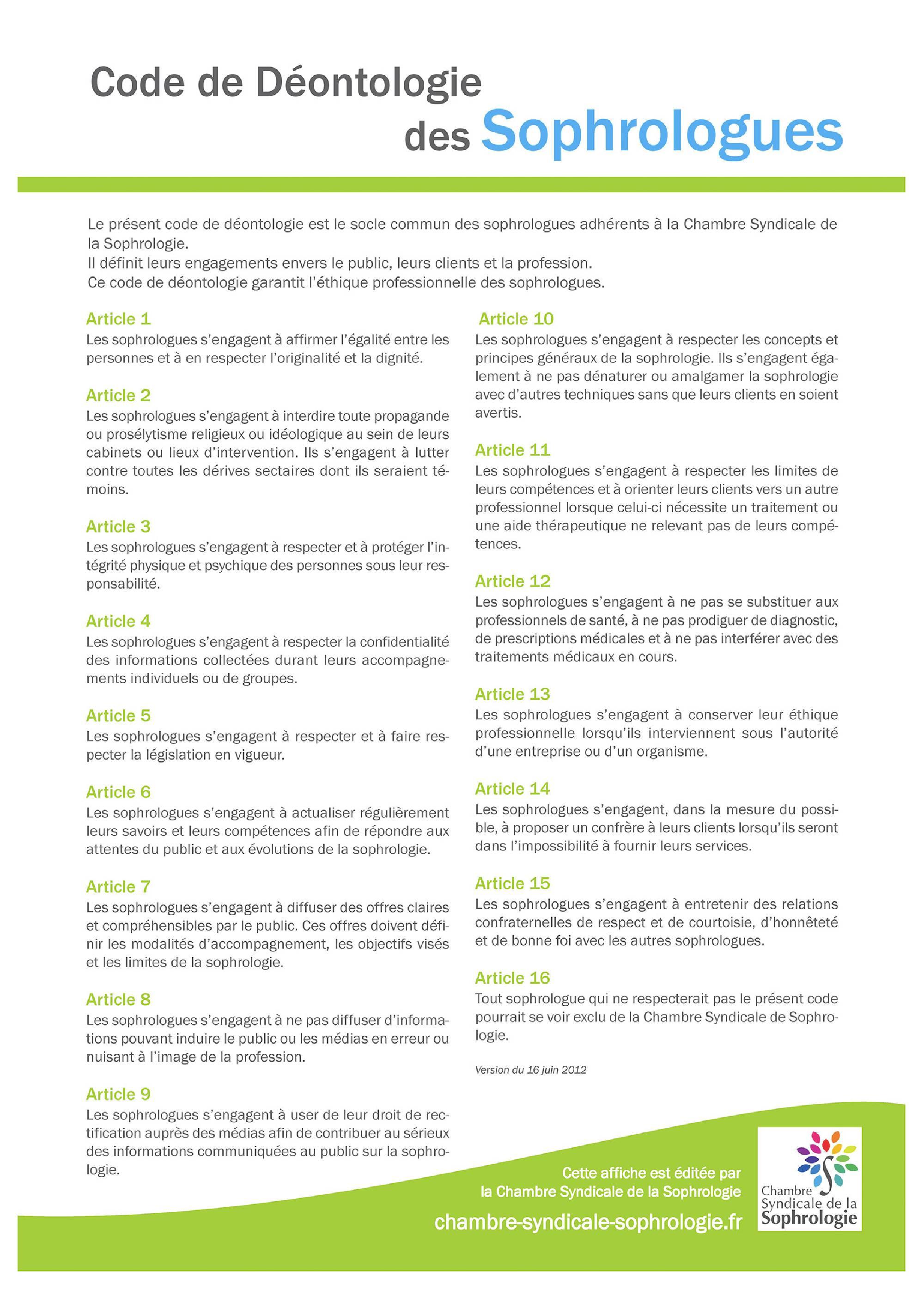 Code de déontologie Sophrologie